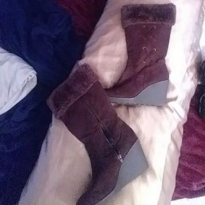 Shoes - Cute brown tall brown leather wedge boots